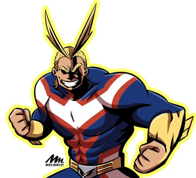 Digital art of All Might drawn by Mike Mincey in adobe photoshop