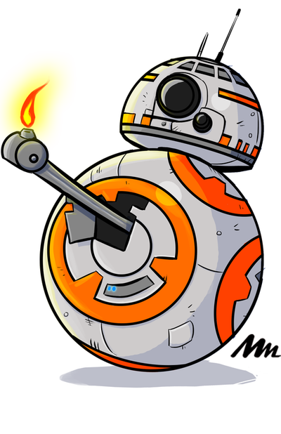 Digital art of Star Wars BB-8 drawn by Mike Mincey for a T-shirt design