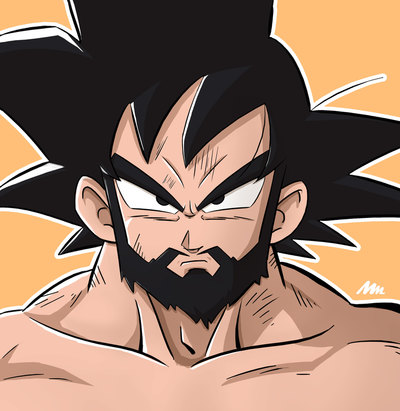 Digital art by Mike Mincey of Goku with a beard from Dragonball Z, Super fanart