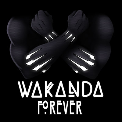 Marvel Black Panther Wakanda Forever crossed arms shirt design.