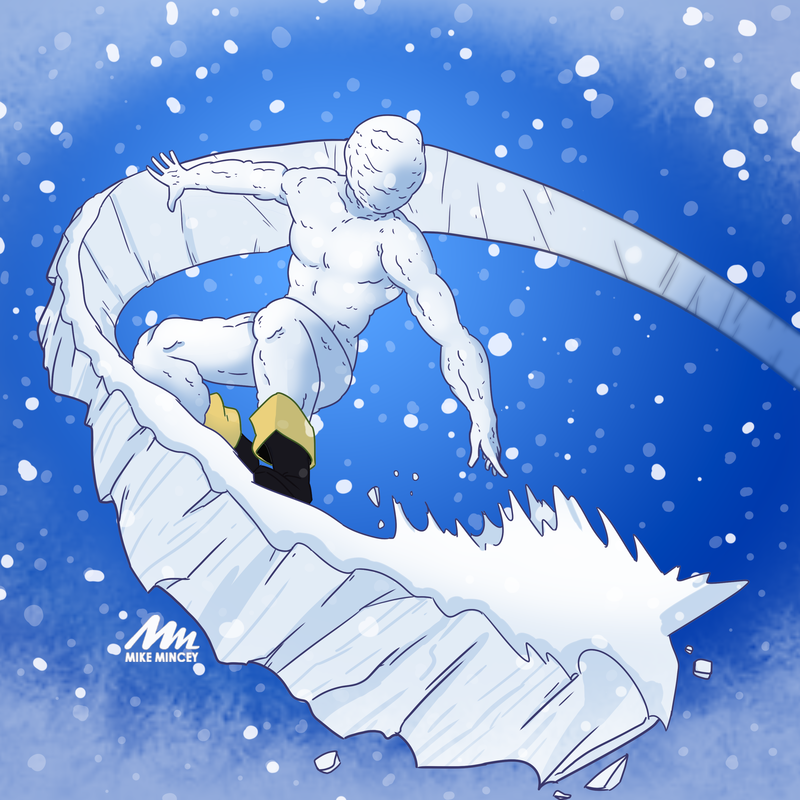 junetoon, xmen, iceman, snow, 2019, mike, mincey, art, digital, drawing, fanart, commission, challenge, winter, christmas,