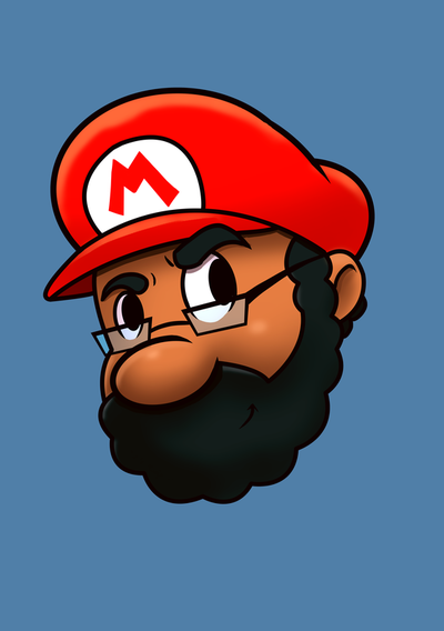 Self portrait of Mike Mincey drawn like Nintendo Mario. New Profile pic image for social media