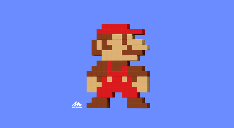 Mario, 3d, model, pixel, zbrush, mike mincey