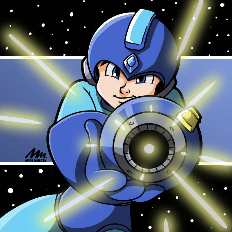 Animated cartoon Megaman digital fanart by Mike Mincey for Junetoon 2019